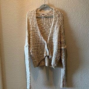 Free People cream textured oversized sweater, S